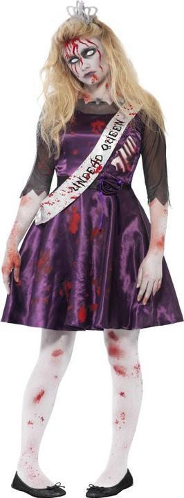 Teen Zombie High School Prom Queen Girls Halloween Fancy Dress Costume Outfit Thumbnail 1