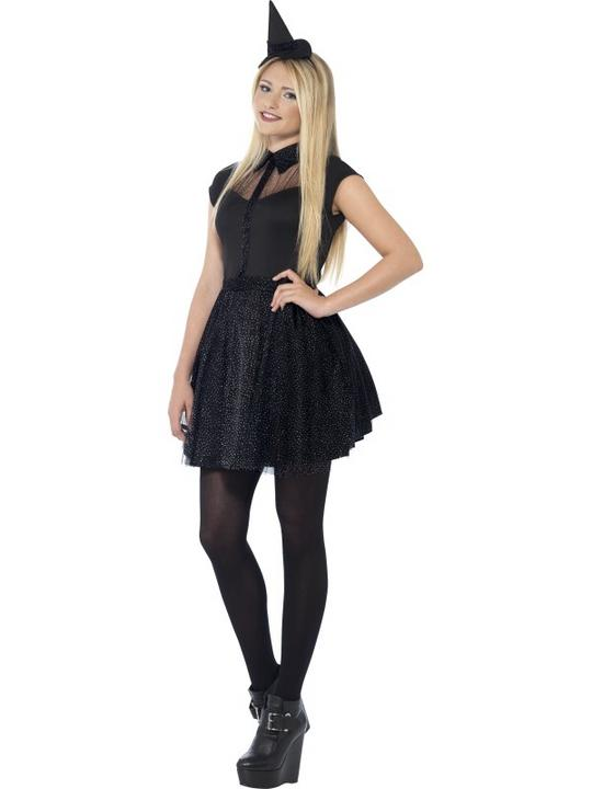 Kids Black Glitter Witch Girls Halloween Party Fancy Dress Teen Costume Outfit Thumbnail 1