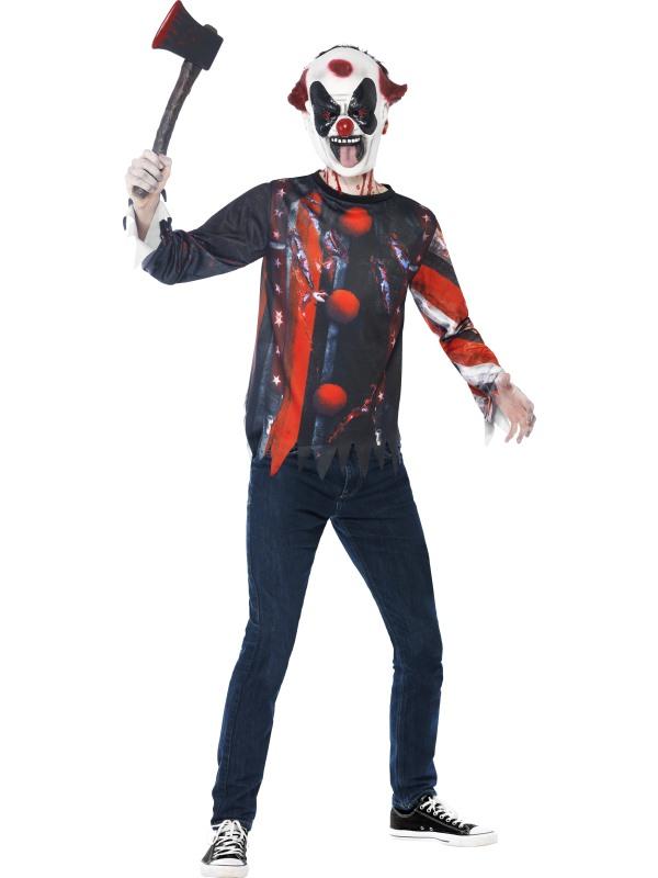 SALE Kids Evil Sinister Creepy Clown Kit Boys Halloween Fancy Dress Teen Costume