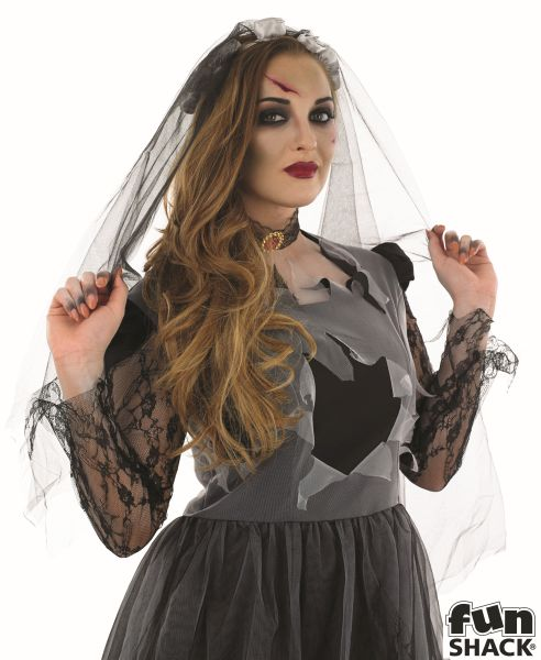 SALE Adult Zombie Black Corpse Bride Ladies Halloween Fancy Dress Costume Outfit Thumbnail 1