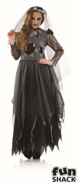 SALE Adult Zombie Black Corpse Bride Ladies Halloween Fancy Dress Costume Outfit Thumbnail 2