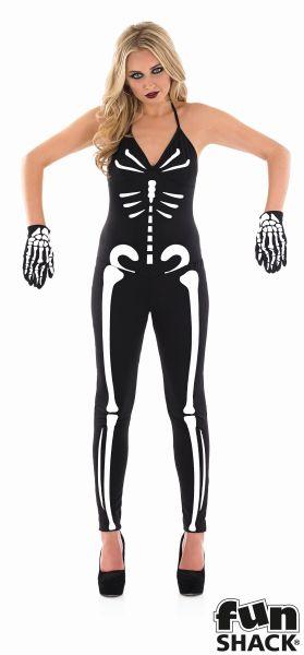 Women's Skeleton Fancy Dress Costume  Thumbnail 1