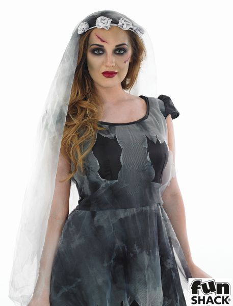 Women's Short Black Corpse Bride Fancy Dress Costume Thumbnail 1