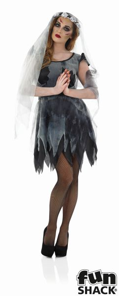 Women's Short Black Corpse Bride Fancy Dress Costume Thumbnail 2