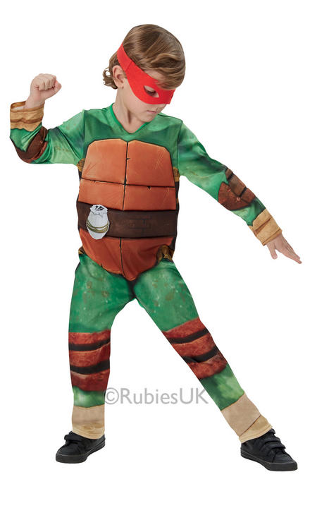 Kids Deluxe Teenage Mutant Ninja Turtles Boys Fancy Dress Childs Costume Outfit Thumbnail 1