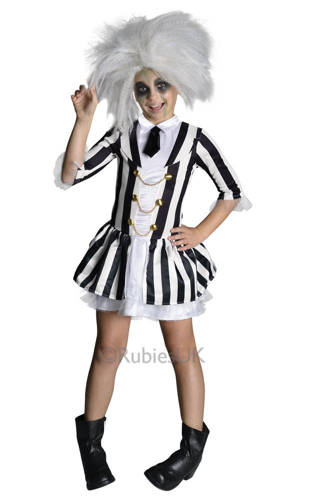 SALE! Kids Beetlejuice Girls Halloween Party Fancy Dress Childs Costume Outfit