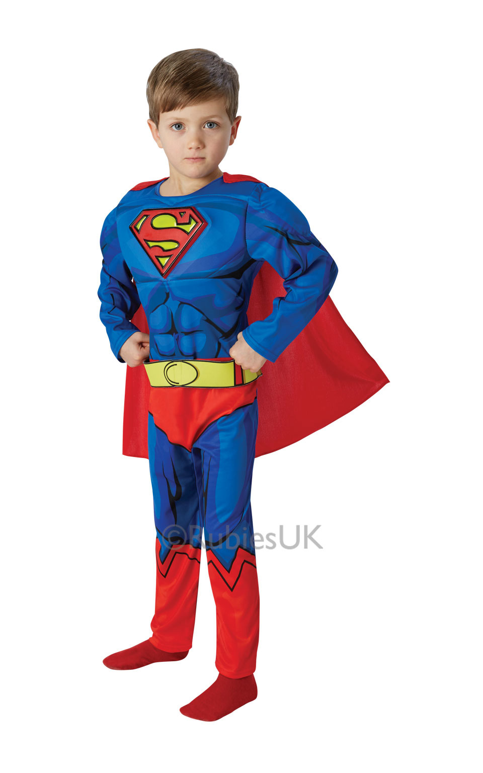 kids boys deluxe comic book muscle chest superman fancy dress superhero costume. Black Bedroom Furniture Sets. Home Design Ideas