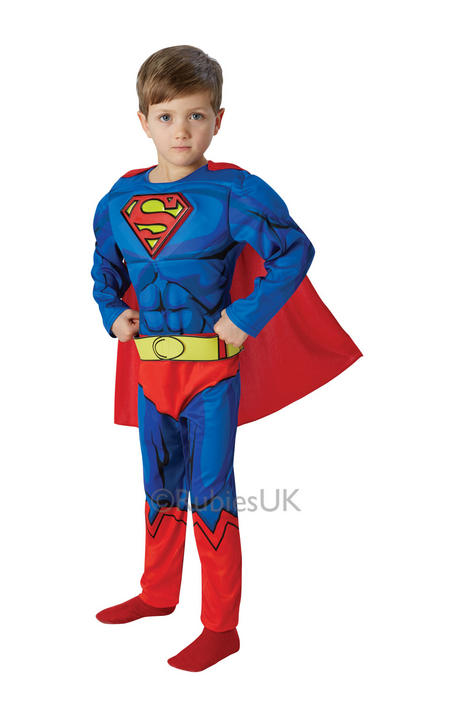 Kids Boys DELUXE Comic Book Muscle Chest Superman Fancy Dress Superhero Costume Thumbnail 1
