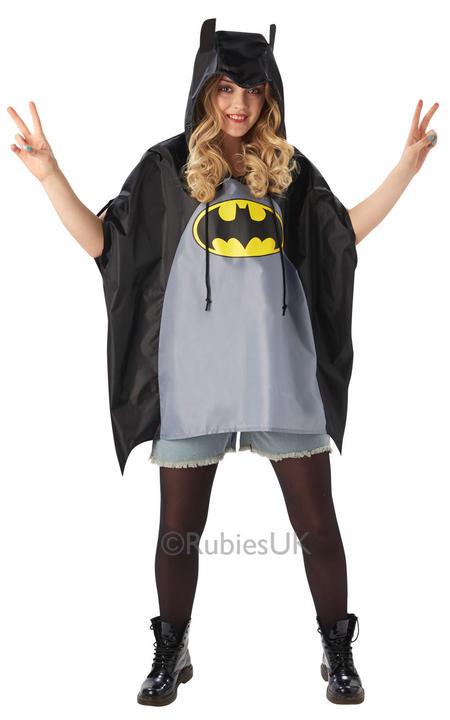 SALE! Adult Superhero Batman Festival Poncho Ladies / Mens Fancy Dress Costume Thumbnail 3