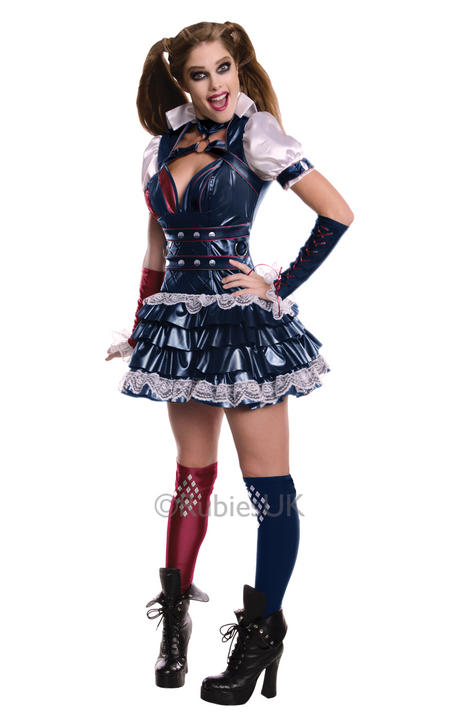 Ladies Harley Quinn Batman Arkham Asylum Adult Fancy Dress Costume  Thumbnail 1