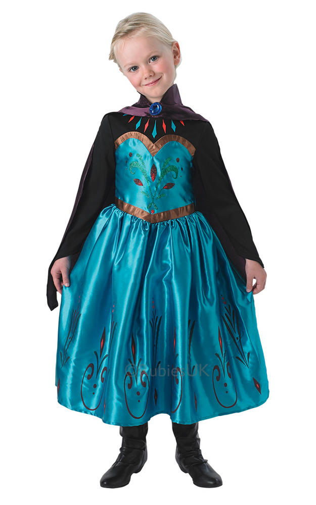 Kids Disney Frozen Coronation Princess Elsa Girls Fancy Dress Childs Costume