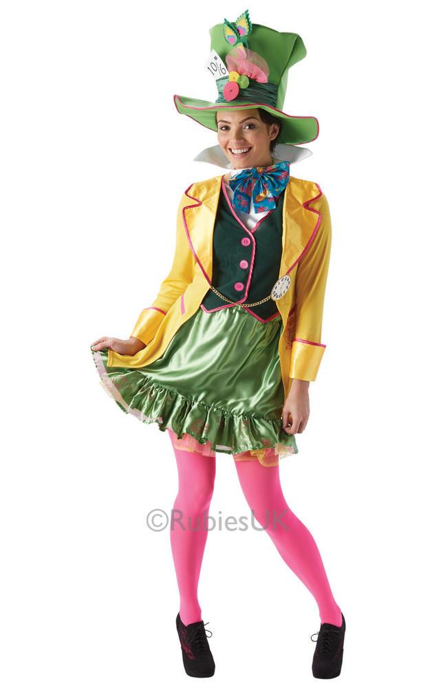 Adult Disney Wonderland Mad Hatter Ladies Fancy Dress Book Week Costume Outfit