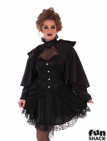 Adult Sexy Victorian Black Widow Ladies Halloween Fancy Dress Costume Outfit Thumbnail 1