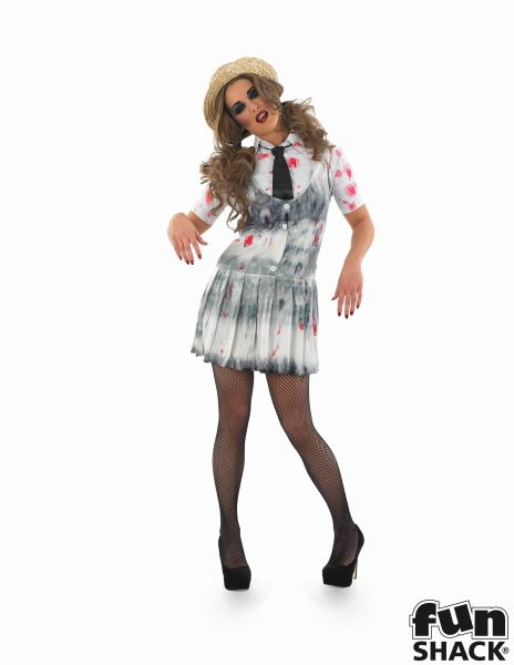 Adult Sexy Zombie School Girl Ladies Halloween Party Fancy Dress Costume Outfit Thumbnail 2
