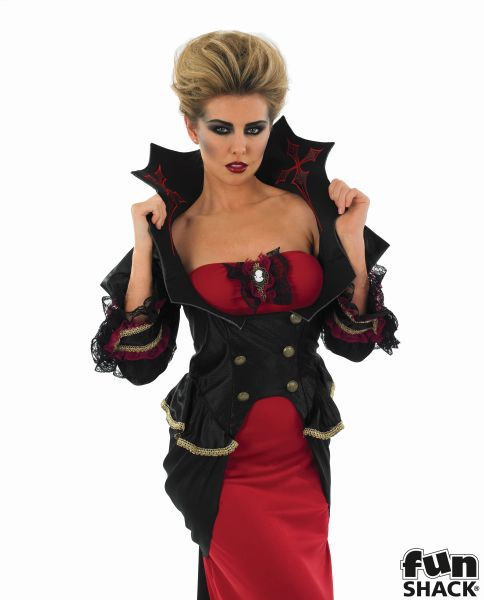 Adult Gothic Vampiress Queen Ladies Halloween Party Fancy Dress Costume Outfit Thumbnail 1