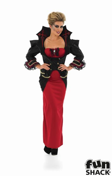 Adult Gothic Vampiress Queen Ladies Halloween Party Fancy Dress Costume Outfit Thumbnail 3