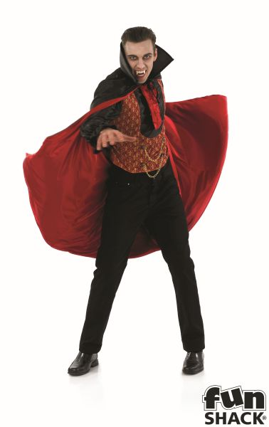 SALE! Adult Gothic Vampire Count Mens Halloween Party Fancy Dress Costume Outfit Thumbnail 2