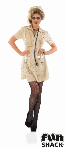 SALE Adult Walking Dead Zombie Nurse Ladies Halloween Fancy Dress Costume Outfit Thumbnail 2