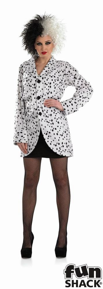 Women's Dalmation Jacket Fancy Dress Costume