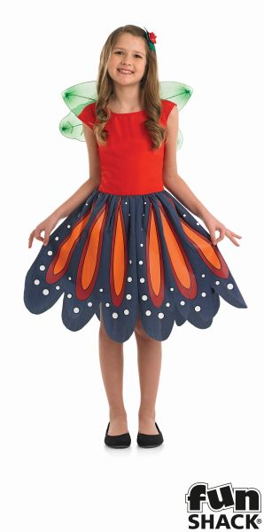 Girls Red Woodland Fairy Fancy Dress Costume  Thumbnail 2