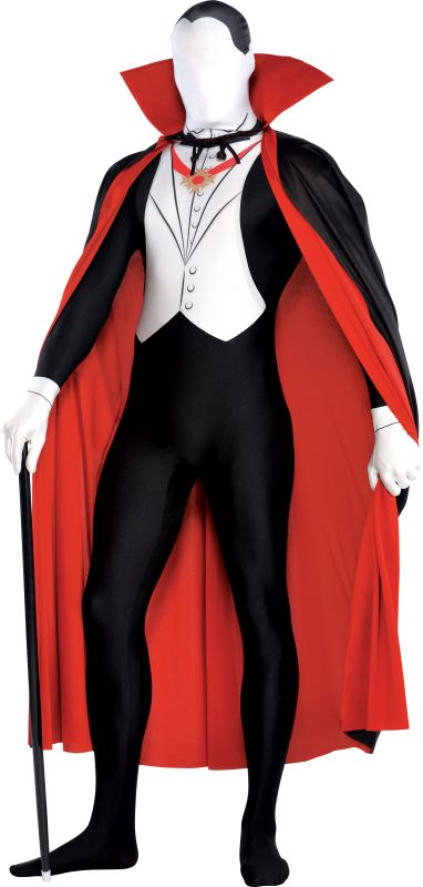 Adult 2nd Skin Gothic Vampire Mens Halloween Party Fancy Dress Costume Outfit