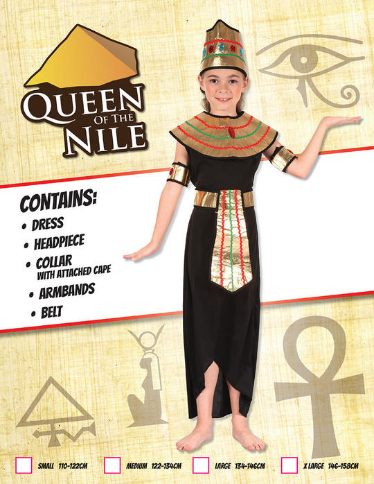 Kids Queen Of The Nile Cleopatra Girls Book Week Fancy Dress Childs Costume Thumbnail 1