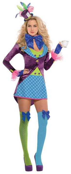 Ladies Mad Hatter Fancy Dress Costume  Thumbnail 1