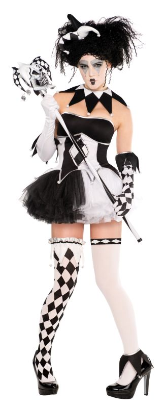 Harlequin Jester Costume Ladies Tricksterina Halloween Fancy Dress Party Outfit