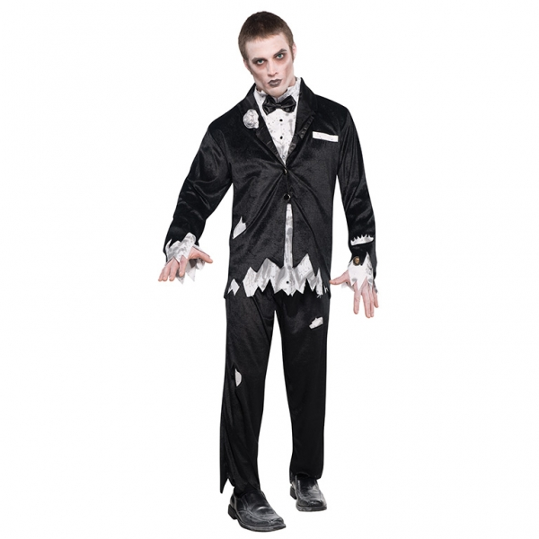 Adult Walking Dead Zombie Groom Mens Halloween Horror Fancy Dress Costume Outfit