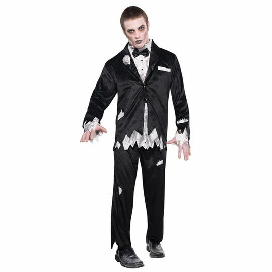 Adult Walking Dead Zombie Groom Mens Halloween Horror Fancy Dress Costume Outfit Thumbnail 1