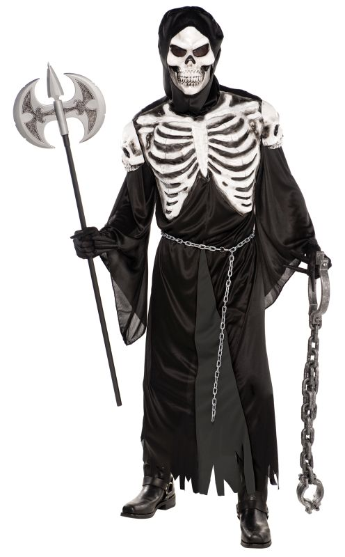 Adult Skeleton Reaper Crypt Keeper Mens Halloween Fancy Dress Costume Putfit