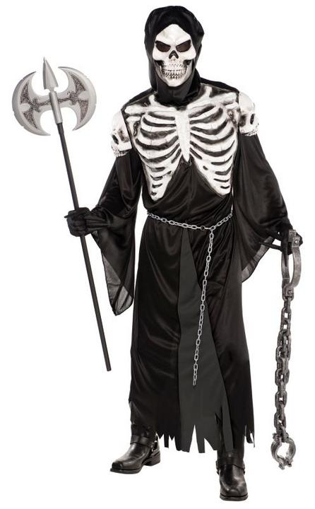 Adult Skeleton Reaper Crypt Keeper Mens Halloween Fancy Dress Costume Putfit Thumbnail 1