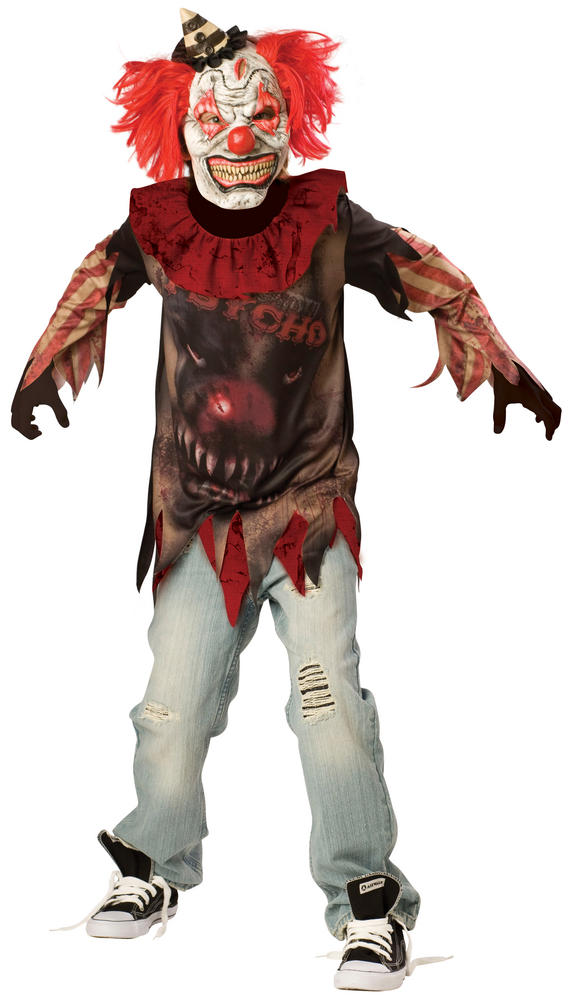 SALE Kids Zombie Sideshow Clown Boys Halloween Horror Fancy Dress Childs Costume