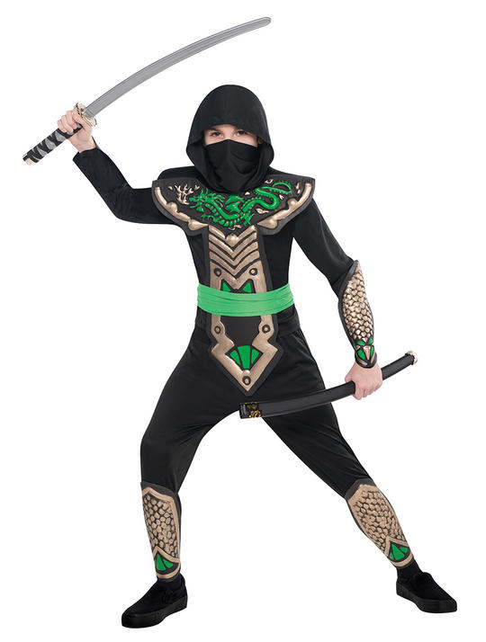 Boys Dragon Ninja Fancy Dress Costume Thumbnail 1