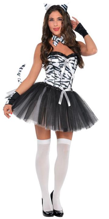 Zebra Ladies Fancy Dress Hen Party Costume Outfit SALE Adult Sexy Animal  Thumbnail 1