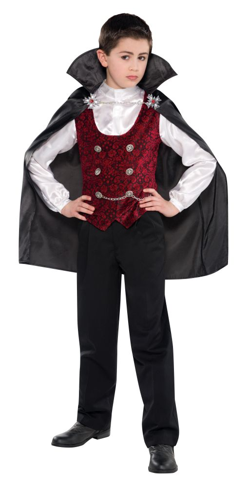 Teen Dark Gothic Vampire Boys Halloween Party Fancy Dress Childs Costume Outfit