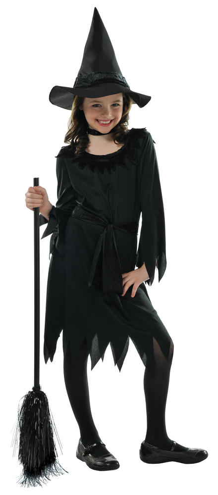 Kids Little Black Witch Girls Halloween Party Fancy Dress Childs Costume Outfit