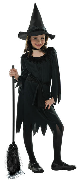 Kids Little Black Witch Girls Halloween Party Fancy Dress Childs Costume Outfit Thumbnail 1