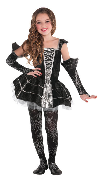 Kids Midnight Mischief Witch Girls Halloween Fancy Dress Childs Costume Outfit Thumbnail 1