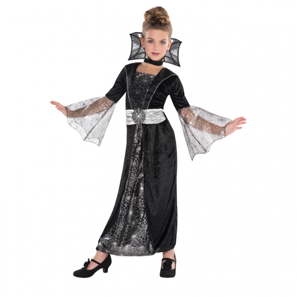 Kids Dark Vampire Countess Girls Halloween Fancy Dress Childs Costume Outfit