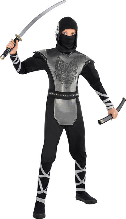 Boys Teen Howling Wolf Ninja Fancy Dress Costume Thumbnail 1