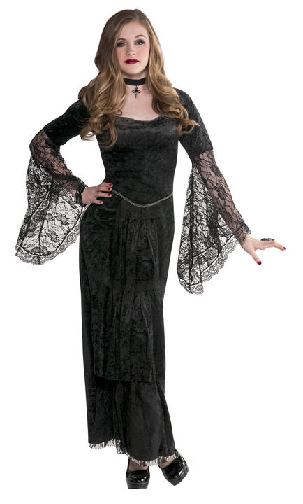 Teen Black Gothic Temptress Girls Halloween Party Fancy Dress Costume Outfit Thumbnail 1