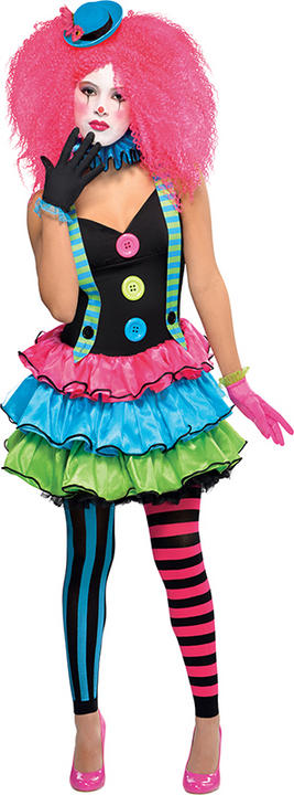 SALE! Teen Kool Carnival Circus Clown Fancy Dress Costume Party Outfit Age 10-16 Thumbnail 1