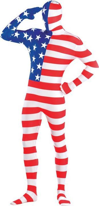 Mens American Flag Partysuit Fancy Dress Costume  Thumbnail 1