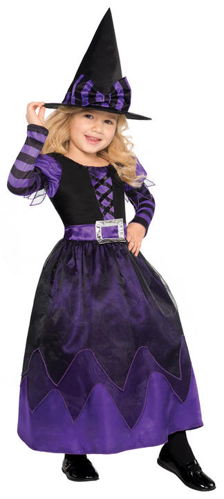 Girls Halloween Be Witched Costume Kids Horror Fancy Dress Outfit Thumbnail 1