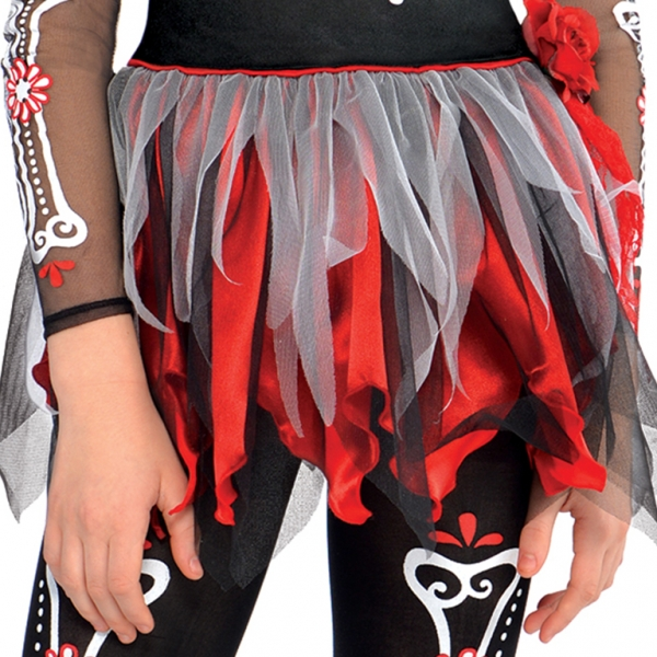 Teen Mexican Day Of The Dead Zombie Skeleton Girls Halloween Fancy Dress Costume