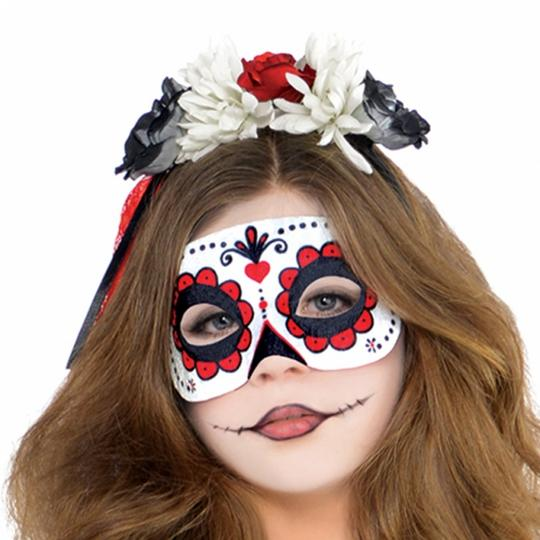 Teen Mexican Day Of The Dead Zombie Skeleton Girls Halloween Fancy Dress Costume Thumbnail 2