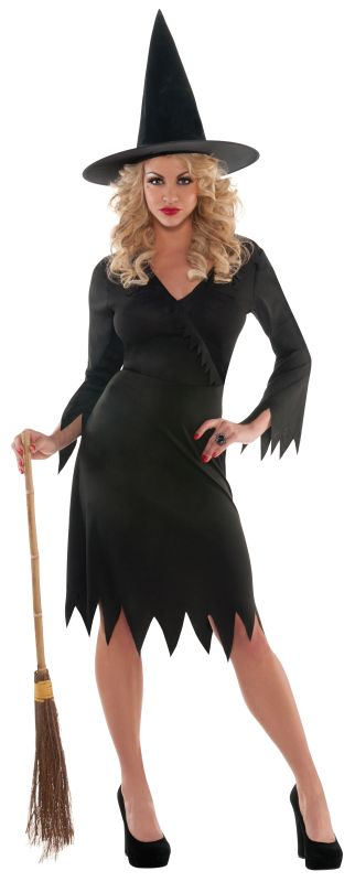 Adult Sexy Black Wicked Witch Ladies Halloween Party Fancy Dress Costume Outfit