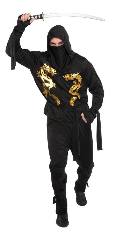 Mens Black Dragon Ninja Fancy Dress Costume