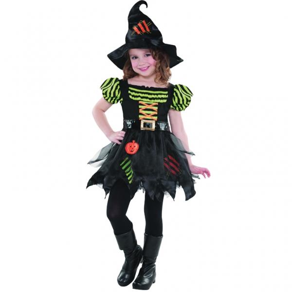 Girls Halloween Pumpkin Patch Witch Costume Kids Horror Fancy Dress Outfit